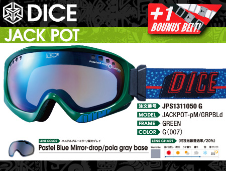 DICE JACKPOT GREEN PASTEL BLUE MIRROR DROP POLA GRAYBASE