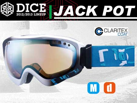 DICE JACKPOT WHITE/BLACK PASTEL YELLOW MIRROR DROP ANTI-FOG DOUBLE LENS LIGHT BROWN BASE